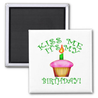 Kiss Me It s My Birthday with Cupcake Fridge Magnets