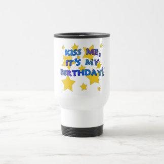 Kiss Me it s My Birthday with Gold Stars Coffee Mug