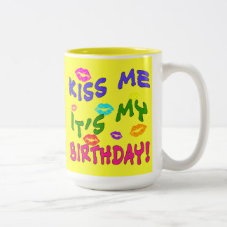 Kiss Me It's My Birthday with Colourful Kisses Two-Tone Mug