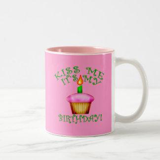 Kiss Me It's My Birthday with Cupcake Two-Tone Mug