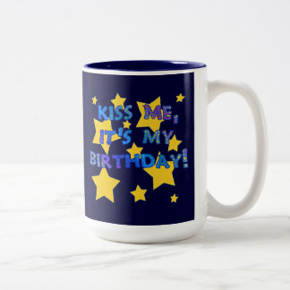 Kiss Me it's My Birthday with Gold Stars Two-Tone Mug