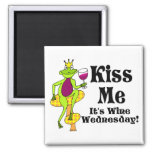 Kiss Me!  It's Wine Wednesday! Wine Prince Square Magnet