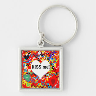 Kiss me! Silver-Colored square key ring