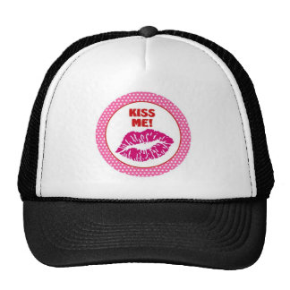 kiss me lips trucker hat