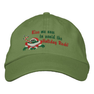 Kiss Me Now Frog Embroidered Baseball Cap
