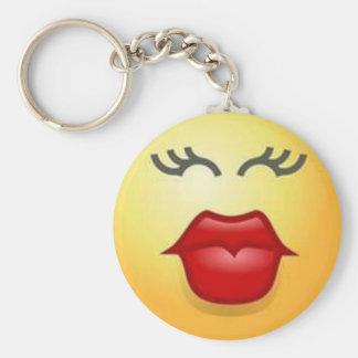 kiss me smiley key ring