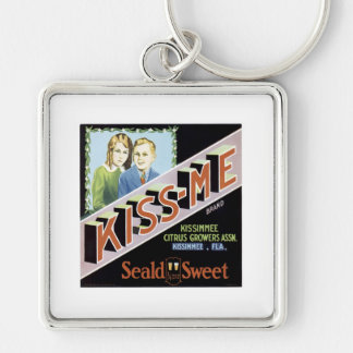 KISS-ME VINTAGE POSTER Silver-Colored SQUARE KEY RING