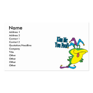 kiss me you fool jester frog cartoon pack of standard business cards