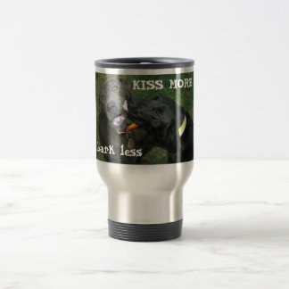 Kiss More Bark Less Dogs Stainless Steel Travel Mug