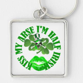 Kiss my arse I'm half Irish Silver-Colored Square Key Ring