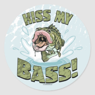 Kiss My Bass Big Mouth Fish Gear Round Sticker