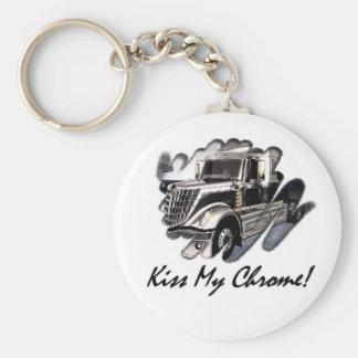 Kiss My Chrome! Basic Round Button Key Ring