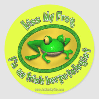 Kiss My Frog Round Stickers