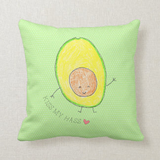 Kiss My Hass,  avocado funny and cute Cushion