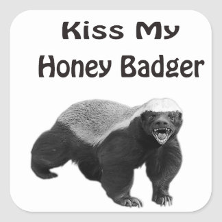 kiss My Honey Badger Square Sticker