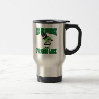 Kiss My Shamrock For Good Luck Gift Stainless Steel Travel Mug