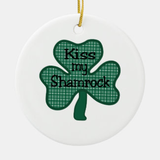Kiss My Shamrock Round Ceramic Decoration