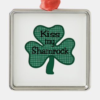 Kiss My Shamrock Silver-Colored Square Decoration
