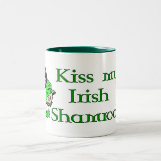 Kiss My Shamrock Two-Tone Coffee Mug