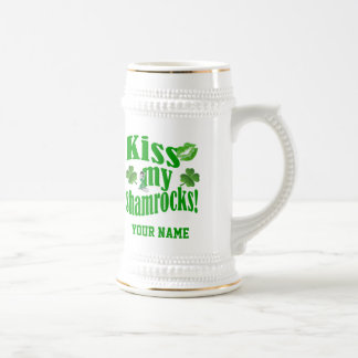 Kiss my shamrocks, funny St Patrick's day Beer Stein