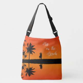 Kiss on the Beach Sunset Couple Tropical Vacation Crossbody Bag