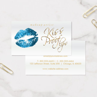 Kiss Proof Lips 2- Turquoise Glitter and  Gold Business Card