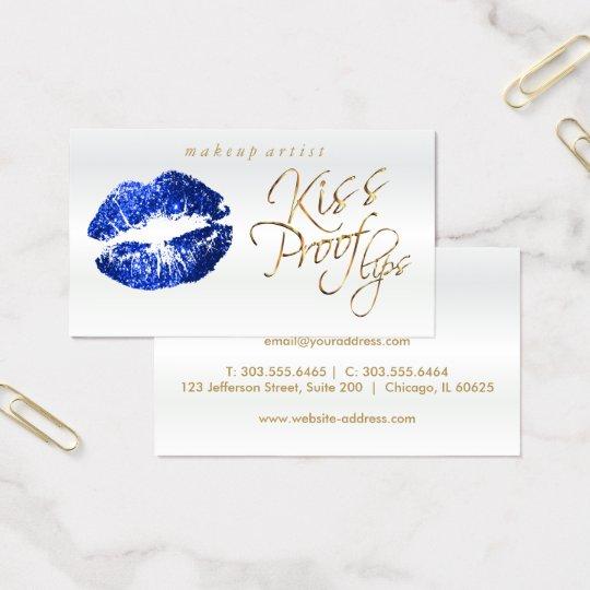 Kiss Proof Lips - Blue Glitter Business Card