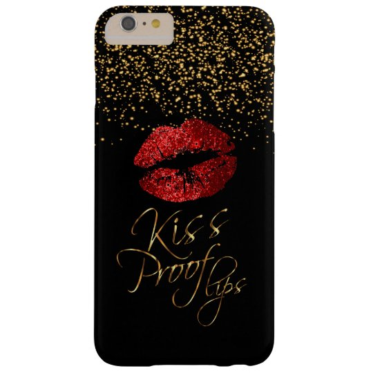 Kiss Proof with Gold Confetti & Red Lips