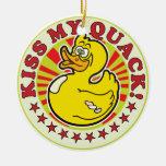 Kiss Quack R Round Ceramic Decoration