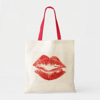 Kiss, red lips tote bag