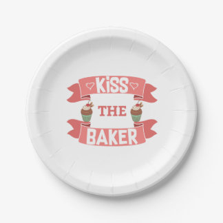 "Kiss the Baker 7"" Paper Plate"