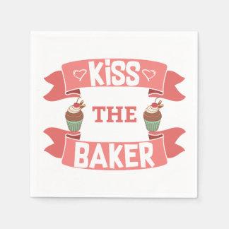 Kiss the Baker Cocktail Napkins Paper Serviettes