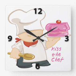 Kiss the Chef Square Wall Clock
