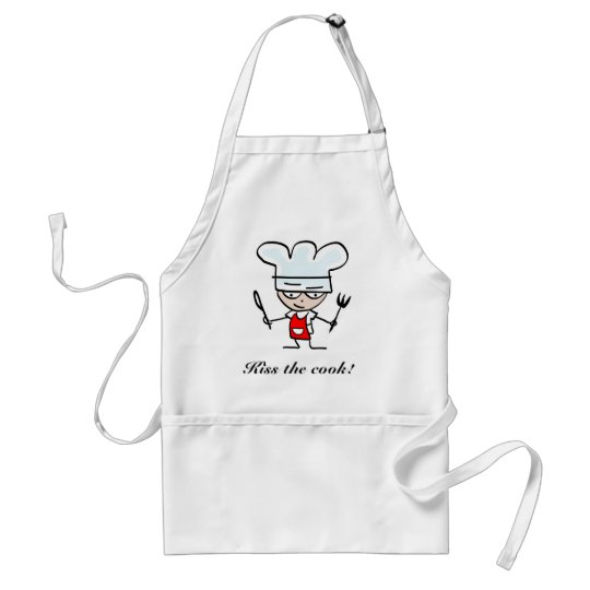Kiss the cook apron with cartoon design