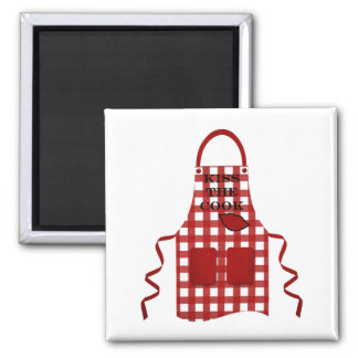 Kiss The Cook Square Magnet