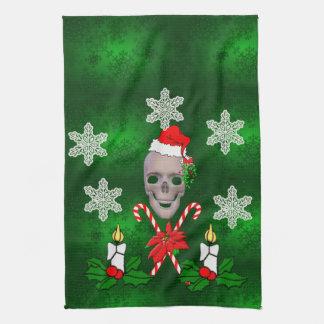 Kiss The Santa Skull Tea Towel