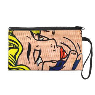 Kiss V Lichtenstein - Vintage Pop Art - Customize Wristlet Clutch