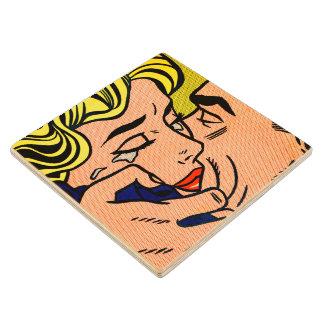 Kiss V - Lichtenstein - Vintage Pop Art Maple Wood Coaster