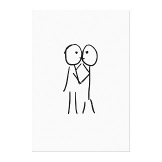 Kiss Wrapped Canvas - Love Illustration Gallery Wrap Canvas