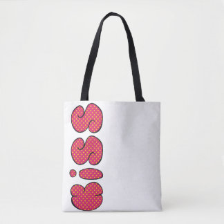 Kiss you doodle bold lettering, romantic love, tote bag