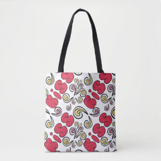 Kiss you doodle bold lettering, romantic love tote bag