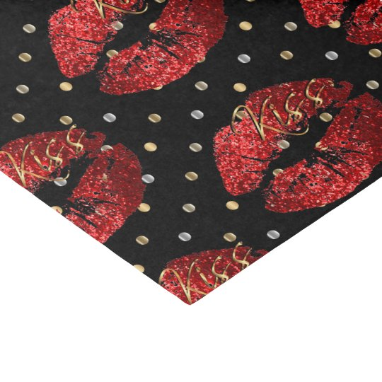 Kissable Red Glitter Lips Tissue Paper