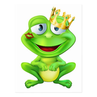 Kissed frog prince post card