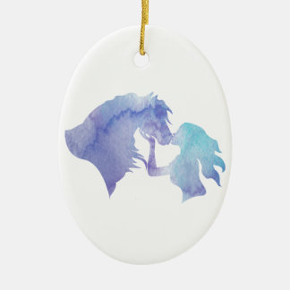 Kissed: Watercolor Horse and Girl Ornament