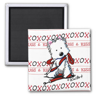 Kisses & Hugs Westie Square Magnet