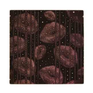 Kisses Under The Stars Burgundy Maple Wood Coaster