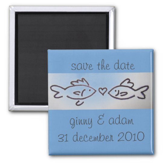 kissfish save the date square magnet