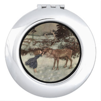 Kissing a Reindeer Nose Compact Mirror