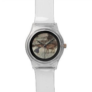 Kissing a Reindeer Nose Wristwatches