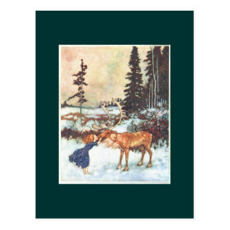 Kissing a Reindeer Postcard